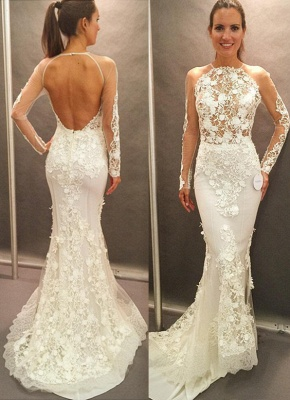 Appliques Lace Open Back Glamorous Mermaid Wedding Dresses with  Long Sleeves_2