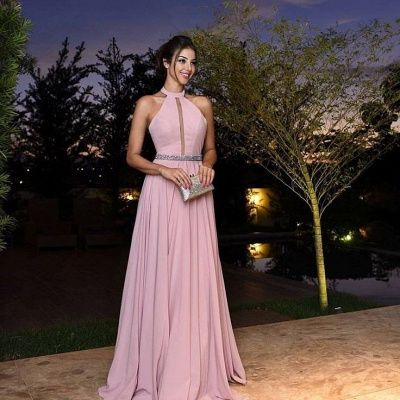 Sexy A-Line Chiffon Crystal Halter Pink Prom Dresses 2018_3
