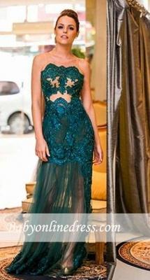 Elegant Dark Green Sleeveless Prom Dresses Scoop Floor-length Evening Gown_3