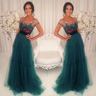 Short-Sleeves Green Appliques Tulle A-Line Prom Dresses 2018_3