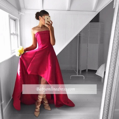 Newest Sleeveless Strapless Prom Dress Hi-Lo Red Sweep-Train Evening Gowns_1