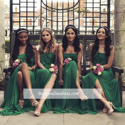 Chiffon A-line Front-Split Sleeveless Sweep-Train Sexy Strapless Bridesmaid Dress_1