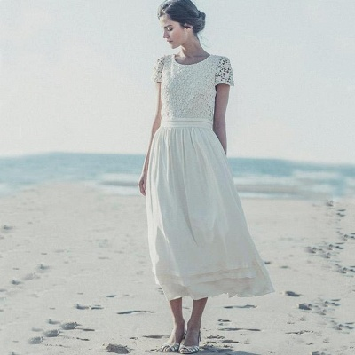 Tea Length Wedding Dresses Boho Lace Top Short Sleeves Layered A-line Bridal Gowns_3