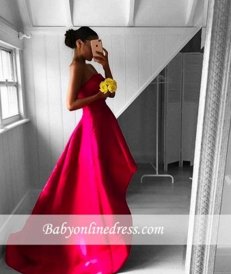 Newest Sleeveless Strapless Prom Dress Hi-Lo Red Sweep-Train Evening Gowns_3