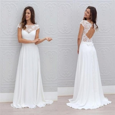 Simple Backless Short-Sleeves Chic A-line Sweep-train White Wedding Dress_4