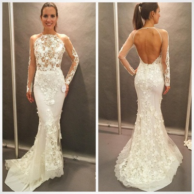 Appliques Lace Open Back Glamorous Mermaid Wedding Dresses with  Long Sleeves_3