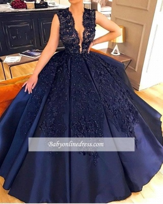 Sleeveless Elegant Dark-Navy Appliques Evening Dress_1