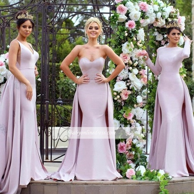New Mermaid Bridesmaid Dresses | Long Sleeves Wedding Party Dresses with Overskirt_6