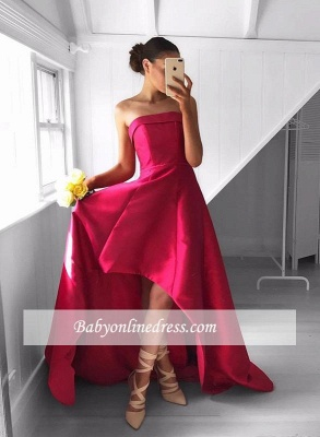 Newest Sleeveless Strapless Prom Dress Hi-Lo Red Sweep-Train Evening Gowns_4