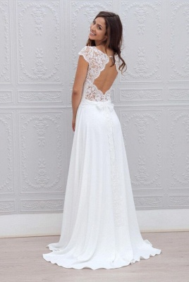 Simple Backless Short-Sleeves Chic A-line Sweep-train White Wedding Dress_3