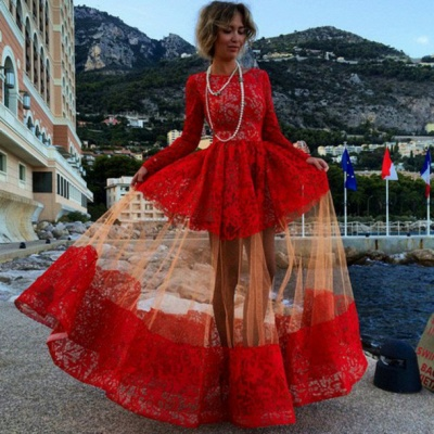 Red Long Prom Dresses Long Sleeves Puffy Illusion Skirt Gorgeous Evening Gowns_3