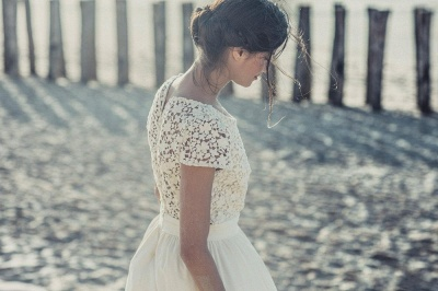Tea Length Wedding Dresses Boho Lace Top Short Sleeves Layered A-line Bridal Gowns_5