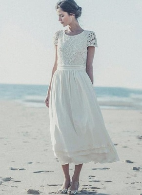 Tea Length Wedding Dresses Boho Lace Top Short Sleeves Layered A-line Bridal Gowns_1