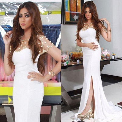 2018 Gorgeous Chiffon Mermaid White Split Evening Dresswith Beadings BA4593_3