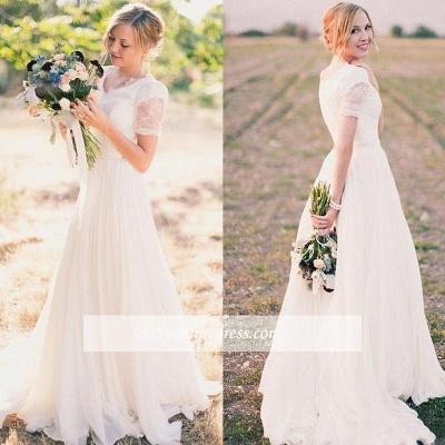 Chiffon Lace Short-Sleeves A-line Modest V-neck Popular Wedding Dresses_1
