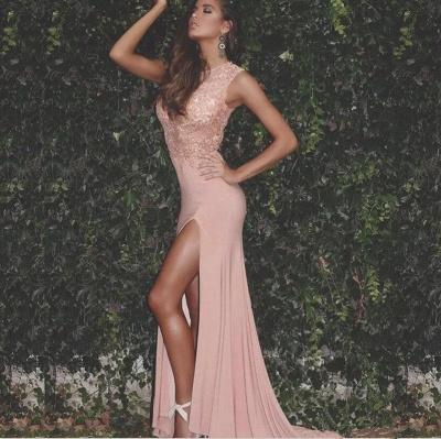 Sexy Lace Chiffon Prom Dresses 2018 Split Floor Length Sleeveless_3