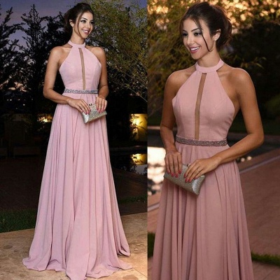 Sexy A-Line Chiffon Crystal Halter Pink Prom Dresses 2018_4