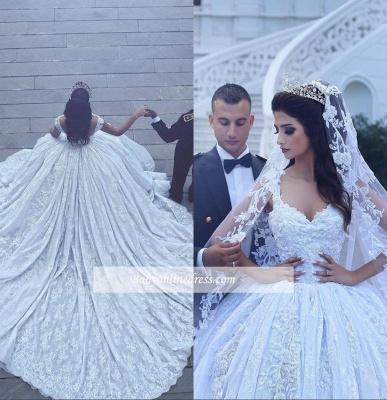 Elegant Ball-Gown Sleevesless Sweetheart Flowers Lace Wedding Dresses_1