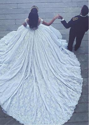 Elegant Ball-Gown Sleevesless Sweetheart Flowers Lace Wedding Dresses_4