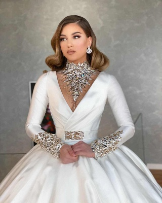Vintage Ball Gown Wedding Dresses Cheap | Satin Bridal Dresses with Sleeves_2