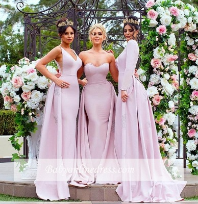 New Mermaid Bridesmaid Dresses | Long Sleeves Wedding Party Dresses with Overskirt_5