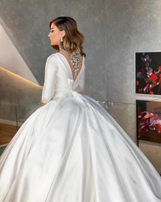 Vintage Ball Gown Wedding Dresses Cheap | Satin Bridal Dresses with Sleeves_3