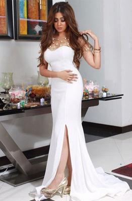 2018 Gorgeous Chiffon Mermaid White Split Evening Dresswith Beadings BA4593_2
