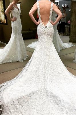 Spaghetti Straps Lace Glamorous Beaded Backless Mermaid Wedding Dresses_2
