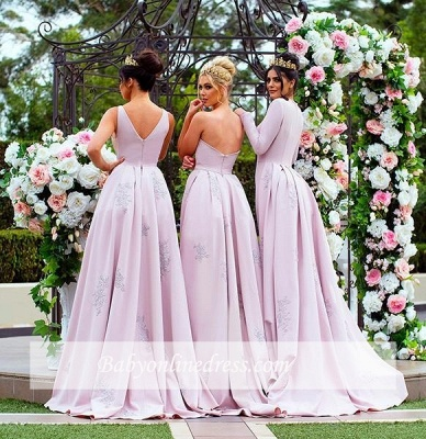 New Mermaid Bridesmaid Dresses | Long Sleeves Wedding Party Dresses with Overskirt_4