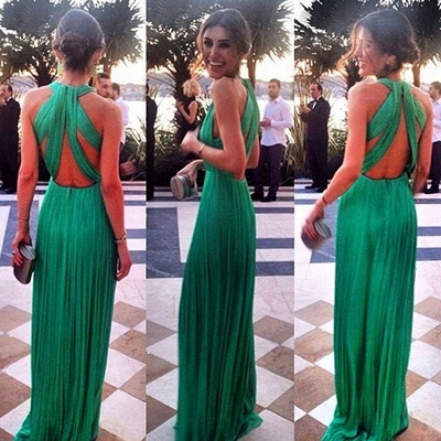 Green Chiffon Prom Dresses Ruched Sexy Back Long Evening Gowns_2