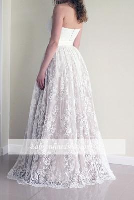 Simple Sweetheart strapless A-line Sleeveless Lace Sash Wedding Dress_1