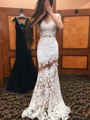 White Mermaid Prom Dresses Sheer Neckline Sexy Evening Gowns_3