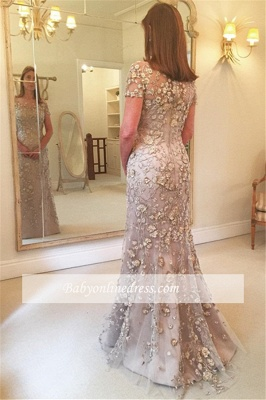 Appliques Mermaid Short-Sleeves Glamorous Evening Dress_1
