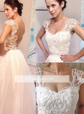 New Arrival Vintage White A-line Floor Length Pearls Backless Straps Wedding Dresses_1