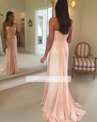Sheath One-Shoulder Sleeveless Ruffles Pink Prom Dress_1