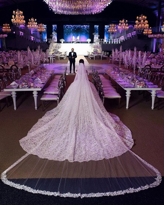 Off the Shoulder Sweetheart Ball Gown Exquisite Lace Wedding Dresses_4