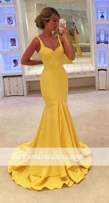 Simple Yellow Mermaid Tiered Spaghetti-Straps Prom Dress_3