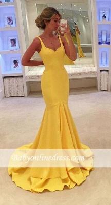 Simple Yellow Mermaid Tiered Spaghetti-Straps Prom Dress_3