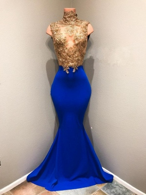 Amazing Long Mermaid Prom Dresses | Gold and Royal Blue Evening Gowns_1