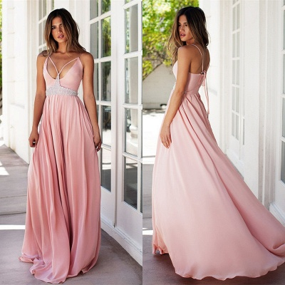 Pink Prom Dresses Spaghettis Straps Long Boho Summer Party Gowns_4