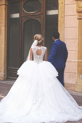 Lace Applique Ball Gown Wedding Dresses Princess Jewel Neck Lace-up Back Long Bridal Gowns_2