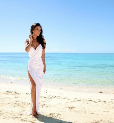 Sexy Summer Wedding Dresses Spaghettis Straps High Side Slit Backless Beach Party Dress_6