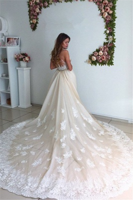Gorgeous Detachable-Cathedral-Train Mermaid Lace Tulle Ivory Wedding Dresses_3