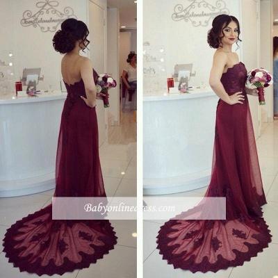 Lace Open-Back Appliques Elegant Strapless Cheap Court-Train Burgundy Prom Dress_1