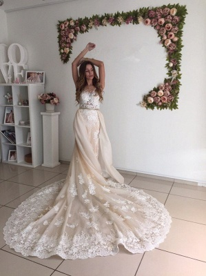 Gorgeous Detachable-Cathedral-Train Mermaid Lace Tulle Ivory Wedding Dresses_4