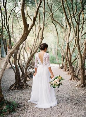 A-line Wedding Dresses Lace Top 3/4 Long Sleeves V Neck Open Back Elegant Bridal Gowns_4