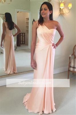Sheath One-Shoulder Sleeveless Ruffles Pink Prom Dress_3