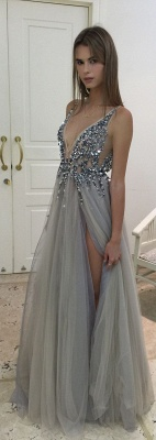 Sexy Deep V-neck Crystals Front Slit Open Back Tulle Prom Dresses with Beadings_3