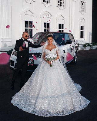 Off the Shoulder Sweetheart Ball Gown Exquisite Lace Wedding Dresses_3