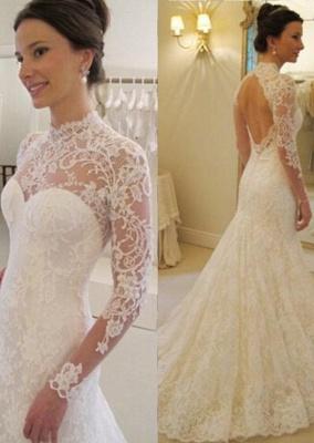 Backless Long Sleeves Elegant Lace Sweep Train Mermaid Wedding Dress_2